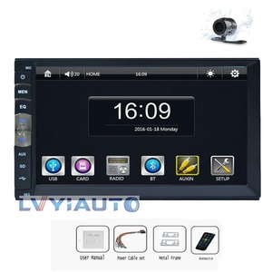 2 DIN 7018B 7Inch LCD HD Car In-Dash Capacitive Multi- Touch Screen BT Car Stereo FM MP3 MP5 Radio Player No-DVD Player +Free HD Camera