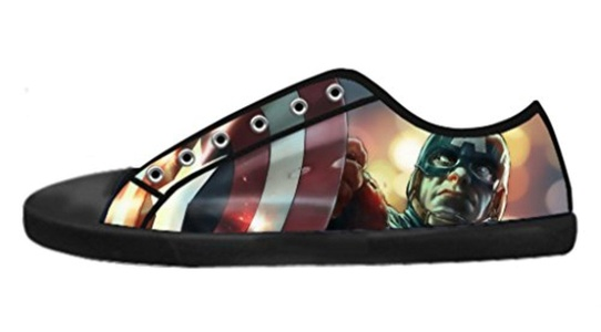 Custom Avengers Captain America Shield Low-Top Lace-up Image Imported Comfortable Canvas Shoes For Men-9M(US)