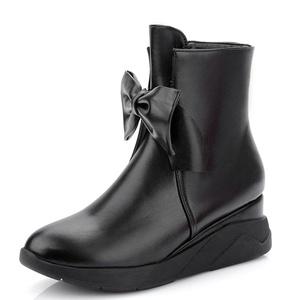 Fashion Heel Women's Flat Heel Round Toe Bowknot Zip Ankle Bootie (5, pink)