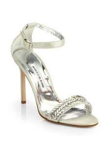 Manolo Blahnik Metallic Suede Ankle-Strap Sandals Size 8US/38EUR