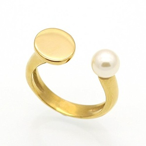 Dudee Jewelry New Fashion Brand Love Jewelry Freshwater Pearl Ring Gold Plated Black Nail Ring