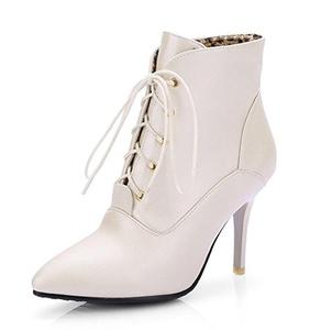 Aisun Women's Elegant Pointed Toe Dress Stiletto High Heels Lace Up Booties Shoes Light Gold 5 B(M) US