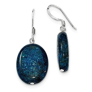 .925 Sterling Silver 38 MM Small Aventurine Deep Blue Dangle Earrings