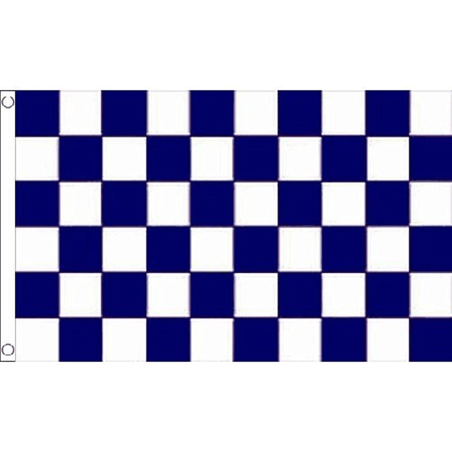 Navy & White Check Small Flag 3Ft X 2Ft Chequered Football Sports Banner New by Navy and White Check