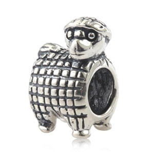 Leobeads Authentic 925 Sterling Silver Sheep Lamb Charms Animal Beads Fits Pandora Style Snake Chain Bracelet