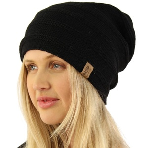 Unisex Warm Lined Double Herringbone Knit Slouchy Stretchy Beanie Hat Cap Black