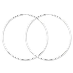 .925 Sterling Silver 70 MM Classic Endless Hoop Earrings