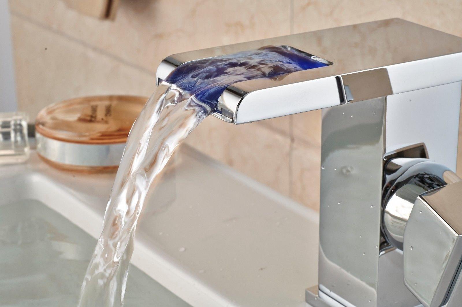 Online Store: Bathroom Sink Faucet Led Light Waterfall Chrome Brass ...