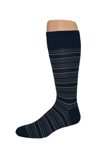 Men's Big & Tall Fashion Navy Stripe Crew Socks - 2pr Pack - Made in USA