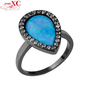 Cherryn Jewelry Classic Blue Opal Women Finger Ring Size 6/7/8/9 T Black Gold Filled Zircon Fashion Jewelry Engagement Ring anillo RB0301
