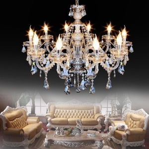 Ridgeyard 10 Lights Modern Luxurious K9 Crystal Chandelier Candle Pendant Lamp Ceiling Living Room Lighting for Dining Living Room Bedroom Hallway Entry 25.6 Inch x 35.4 Inch