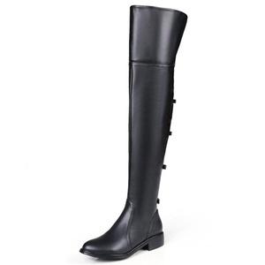 Nine Seven Genuine Leather Women's Round Toe Chunky Heel Bowtie Thigh High Handmade Boot (6, black)