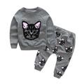 HANYI Baby Kids Set Cats Print Tracksuit +Pants Outfits Set (6T, gray)