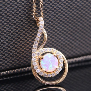 Chic Design 6 & 9 Shape Pendant Necklace 18k Gold Plated Pink Opal Jewelry Pendant