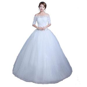 Lamya Boat Neck Princess Wedding Dress Half Sleeve Lace Tulle Bridal Ball Gown