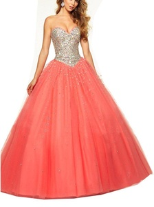 YinWen Women's Sweetheart Sequins Tulle Ball Gown Sweet 16 Formal Pageant Dress Size 10 US Coral