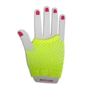 Fancy Dress - 1 Pair Of Short Neon Yellow Fingerless Fishnet Gloves by Gloves