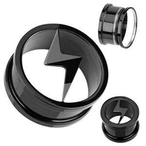 Lightning Bolt Logo Tunnel WildKlass Plug Blackline Titanium IP Over 316L Surgical Steel Screw-Fit (Sold as a Pair)