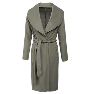 Romanstii Women Long Sleeve Front Open Long Overcoat Wool Coat Trench with Belt