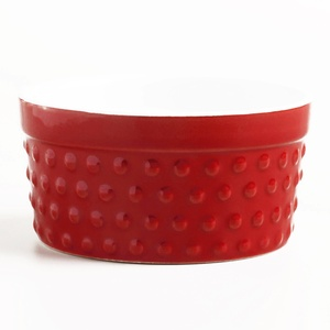 Red Hobnail Ramekins 3.5 oz each