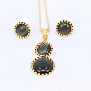 Wedding Fashion stainless steel jewelry set Rhinestone Crystal necklace pendant Stud Earrings and Chain for women (Black)