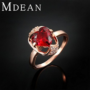 Slyq Jewelry Heart Ruby Ring Rose Gold Filled Wedding fashion jewelry engagement vintage bague elegant accessorie