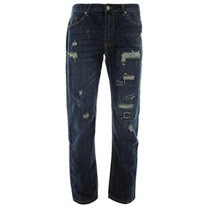 Brooklyn Xpress - Men's Rips & Patches Slim Straight Jeans - Dark Blue