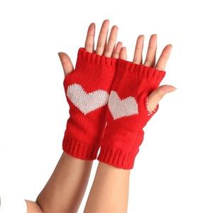 Winter Wrist Arm,HN Hand Warmer Knitted Women Long Fingerless Gloves Mitten (Red)