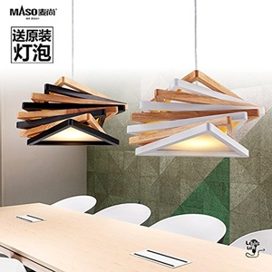 DYBLING LED Chandelier Simple Modern bedroom Corridor bar pendant lights ceiling lamp Solid wood hanging wooden ,430180mm