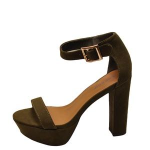 Bamboo Callme 20M Women's Open Toe Platform Chunky Heels (06, Olive)
