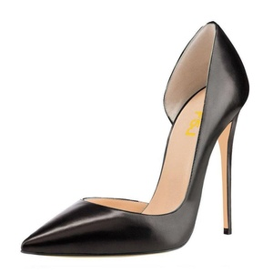 FSJ Fashion Pointed Toe Half D'orsay Pump High Heels Dress Shoes for Women Size 9.5 US Black Matte