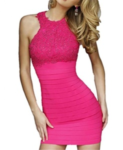 Winnie Bride Sexy Cocktail Dress for Juniors Clubwear Prom Dress with Lace Beads-18W-Fuchsia