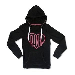 Pink Men's Heart Hooded Sweatshirt Medium Black