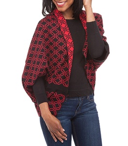 Top it Off Reversible Red/Black Geometric Circle Design Cardigan/Jacket One Size