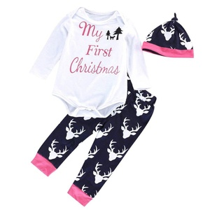 Chinatera 3Pcs Baby Boy Girl Reindeer Outfits Tops Romper+Pants+Hat Set Tracksuit (18-24M, Reindeer)