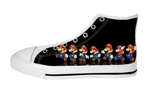 Women's High Top Full Canvas Upper Soft Inner Canvas Shoes Custom Seven Little Mario Design