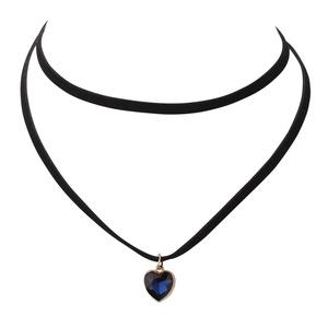Vintage Black Velvet Choker Navy HEART Crystal Gothic Stretch Necklace