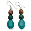 .925 Sterling Silver 43 MM Howlite/Stabilized Chrysocolla/Freshwater Cultured Pearl Earring