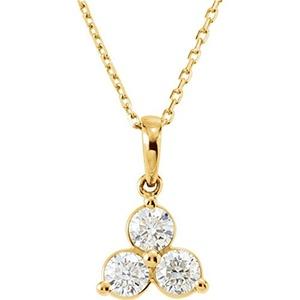 14kt Yellow 5/8 CTW Three-Stone Diamond Necklace