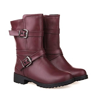 Women's Fashion Low Heel Criss-cross Buckle Strappy Ankle High Boots Motorcycle Riding Mid-calf Boots