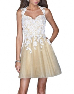 Winnie Bride 2016 Lace Tulle Cocktail Dress for Women Juniors Homecoming Dress-8-White