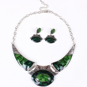 ARICO Enamel Jewelry Moon Jewelry Set Vintage Jewelry Sets Statement Necklace Set Earrings NB307