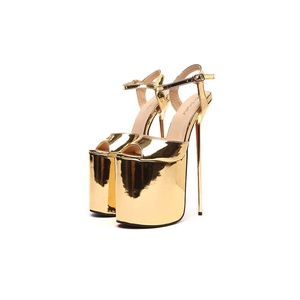 Juoar Women's Peep Toe Sky High Heels Platform Sandals Ankle Buckle Strap Pumps Cut-out Stiletto Shoes Patent Leather Gold US5