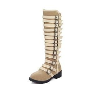 Venkes Women's Suede Buckle Round toe Chunky Heel Mid-Calf Boots