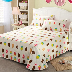 HIGOGOGO Home Decoration 100% Cotton 4-Piece Bed Sheet Set Ice Cream Fitted Sheet with Pillow Sham Twin Size(Twin)