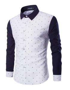 Huafeiwude Mens Fashion Slim Fit Turn-Down Collar Printing Long Sleeve Shirts Navy Blue M