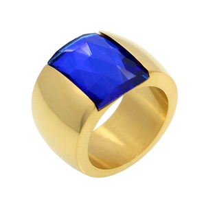 Dudee Jewelry Luxury Blue Gem Stone Ring Gold Plated Wedding Anel Finger Big Crystal Ring Brand Jewelry