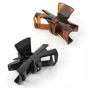 Black & Tort Bow Plastic Hair Clamps/Clips AJ26011 by Hair Clamps