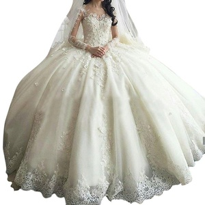 JoyVany Luxury Lace Cathedral Train Ball Gown Wedding Dresses with Long Sleeves White Size 18W