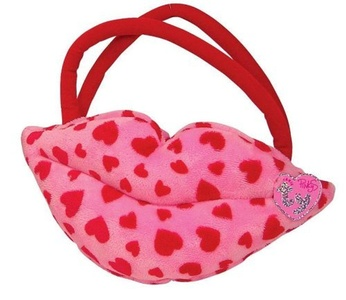 Smooches - Lip Purse - Pink With Red Hearts by Ty Smooches - Lip Purse - Pink With Red Hearts